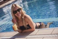Girl at the pool Royalty Free Stock Photos
