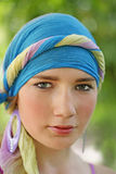 Beautiful girl in blue turban Stock Image