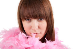 The beautiful girl in a boa Stock Photography