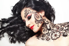 Beautiful girl with body art Royalty Free Stock Photography
