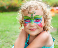Beautiful girl with a body painting. Outdoor royalty free stock photography