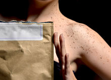 Beautiful girl body shoulder with body cream powder and rustic b Royalty Free Stock Photos