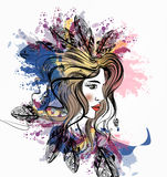 Beautiful girl with boho feathers on her head and ink spots Royalty Free Stock Photos