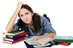 The beautiful girl with books Stock Image