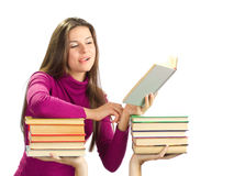 Beautiful girl with books Royalty Free Stock Image