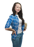 Beautiful girl with books Stock Photos
