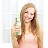Beautiful girl with bottle of water Royalty Free Stock Image