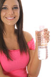 Beautiful girl with bottled water vertical Stock Photography