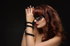 Beautiful girl with bound hands Stock Images