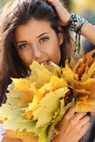 Beautiful girl with a bouquet of maple leaves Stock Image