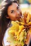 Beautiful girl with a bouquet of maple leaves Royalty Free Stock Photos