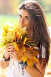 Beautiful girl with a bouquet of maple leaves Stock Photography