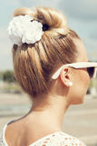 Beautiful girl with bow coiffure Royalty Free Stock Image