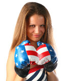 Beautiful girl in boxing gloves. Royalty Free Stock Images