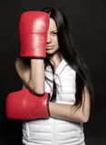 Beautiful girl in Boxing gloves Stock Photo