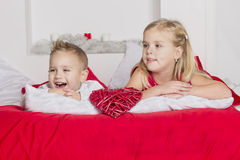 Beautiful girl with a boy laughing Stock Photos