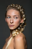 Beautiful girl with braid and natural make-up Stock Photo