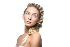 Beautiful girl with braid and natural make-up Stock Photography