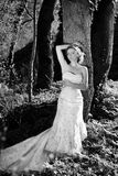 Beautiful girl bride in green wood by summer Stock Photo