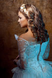 Beautiful girl bride in luxurious wedding dress, portrait in profile, effects of glare Royalty Free Stock Image