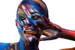 Beautiful girl with bright colored makeup. Creative. colored background Stock Images