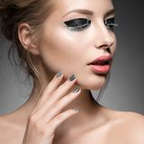 Beautiful girl with bright creative fashion makeup Royalty Free Stock Photography