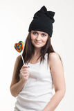 Beautiful girl. And a bright heart royalty free stock images