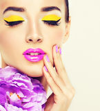 Beautiful girl. With bright make up Stock Photography