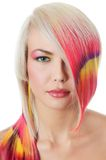 Beautiful girl with a bright make-up and multi-coloured strand in hair Stock Photography