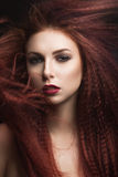 Beautiful girl with bright makeup and burgundy lips with the wind in hair. Beauty face. Royalty Free Stock Photo