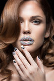 Beautiful girl with bright nails, lips of crystals Royalty Free Stock Photography