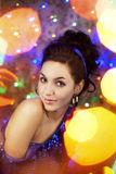 Beautiful girl in the bright night lights Royalty Free Stock Photos