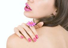 Beautiful girl with bright pink make-up and accessory close up. Stock Photos