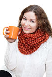 Beautiful girl in bright scarf with cup coffee Royalty Free Stock Images