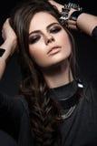 Beautiful girl with bright smokey make-up, perfect Stock Image