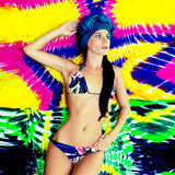 Beautiful girl in a bright swimsuit Royalty Free Stock Photography