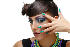 Beautiful girl with bright vivid purple make-up Royalty Free Stock Photography