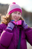 Beautiful girl in bright winter clothes Royalty Free Stock Photo