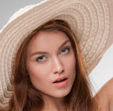 Beautiful girl with broad-brim. Close-up portrait of beautiful girl with broad-brim stock image