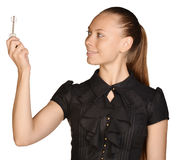 Beautiful girl broker holding sale house key. Royalty Free Stock Images