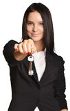 Beautiful girl broker holding sale house key. Stock Images