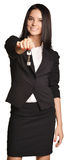 Beautiful girl broker holding sale house key. Stock Image
