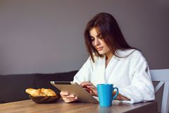 Morning Coffee with Tablet PC stock images