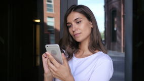 Beautiful Girl Browsing on Smartphone, Using Phone stock video
