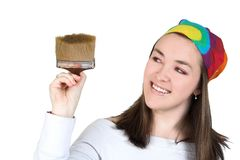 Beautiful girl with brush 3 Royalty Free Stock Photography