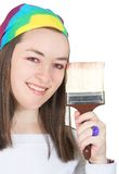 Beautiful girl with a brush Royalty Free Stock Photo