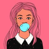 Beautiful girl with bubble gum, long hair and white collar. Vector hand drawn pop art illustration. Young cute woman with bubble gum, long pink hair and white Stock Photo