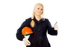 Beautiful girl Builder displays OK Stock Photography