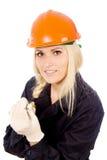 Beautiful girl Builder keep the screwdriver Stock Photo