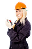 Beautiful girl Builder keep the screwdriver Stock Photos